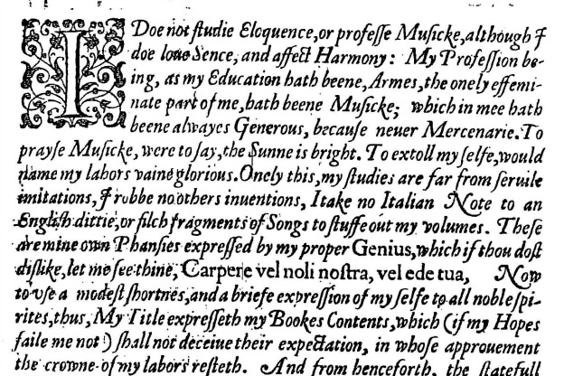 Preface to Tobias Hume's The First Part of Ayres.