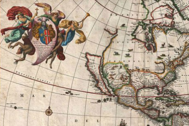 1658 map of the Americas by Nicholas Janzoon Visscher.