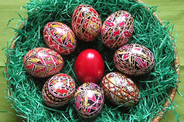 Eggs decorated for Easter.