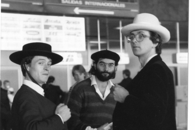 Richard Boothby, Richard Campbell, and Bill Hunt go hat shopping.