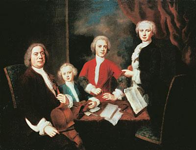 Johann Sebastian Bach with his sons, 1730.