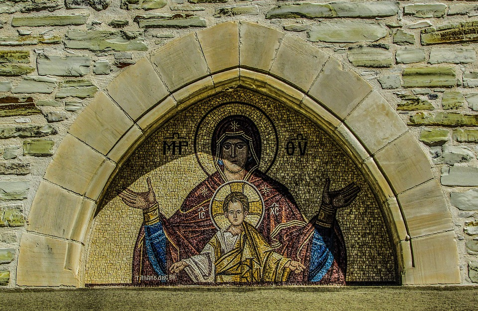 A mosaic of the Virgin Mary.