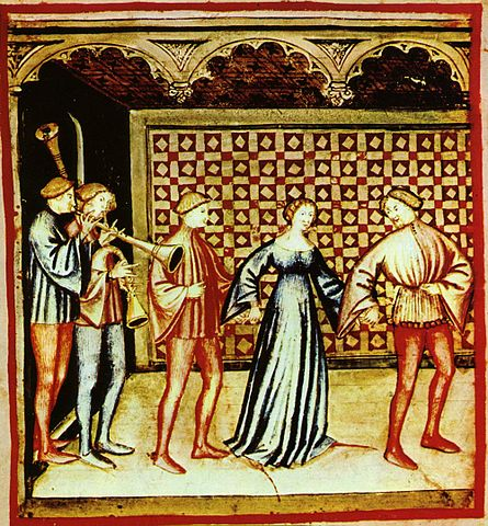 14th century image of a medieval dance.