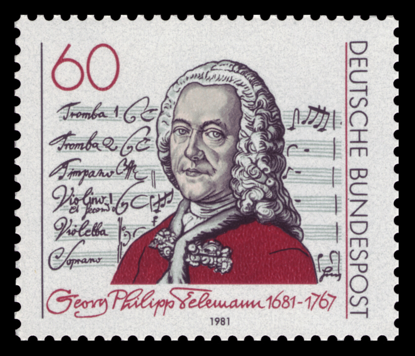 German stamp, issued to celebrate Telemann's 300th birthday in 1981.