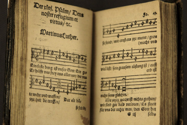 "An early printing of Luther's hymn ""Ein feste Burg ist unser Gott."""