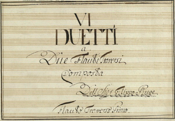 Title page from Six Flute Duets, Filippo Ruge.