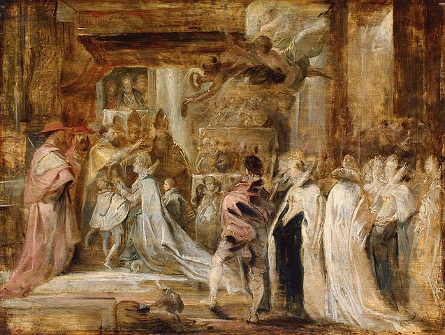A 17th century painting by Peter Paul Rubens, of the coronation of Marie de' Medici.