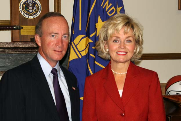 Becky Skillman with Governor Mitch Daniels