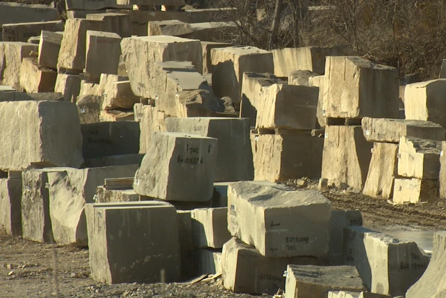Limestone stacks at the Indiana Limestone Company
