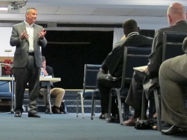 Indiana state superintendent Tony Bennett speaks at a church in Gary.