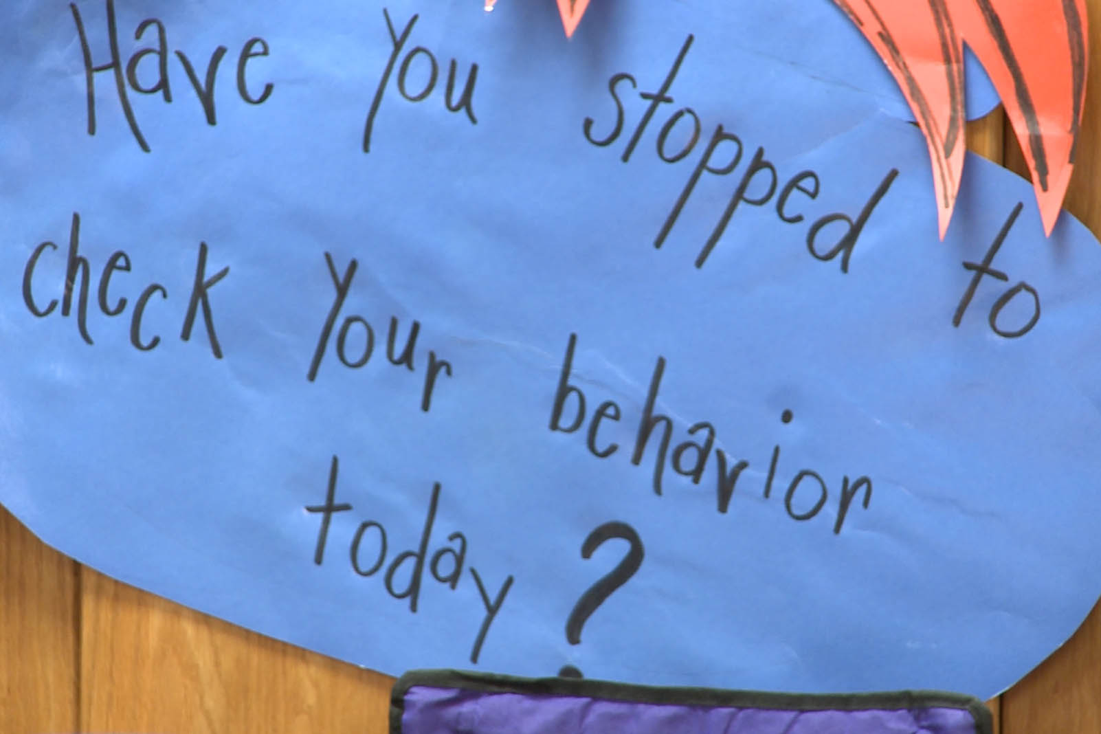 A behavior sign in a classroom at Templeton Elementary School.