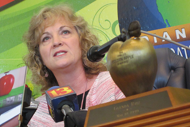 State superintendent Glenda Ritz speaks during a news conference in her Statehouse office.