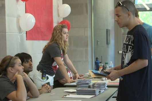 An Indiana University freshman checks in on Move-In Day.