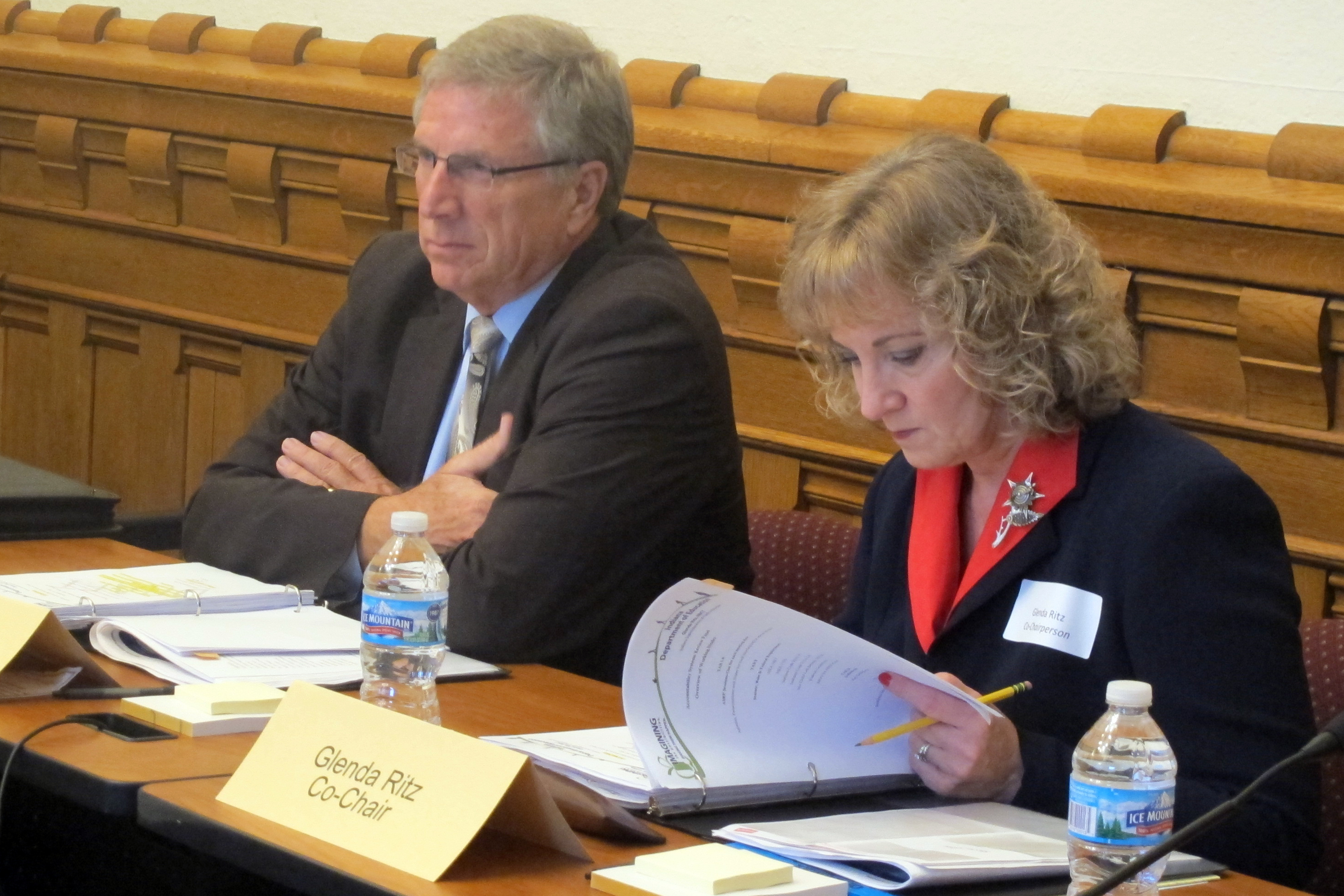 State Superintendent Glenda Ritz, right, and Southwest Allen Schools Superintendent Steven Yager co-chair the panel tasked with reviewing Indiana's A-F accountability system.