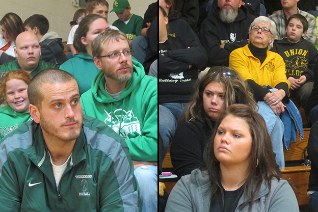 Left: Advocates for closing Union Junior-Senior High School and Dugger Elementary sat on one side of the gym wearing North Central High School colors. Right: Proponents of keeping the two schools open sat on the other set of bleachers.