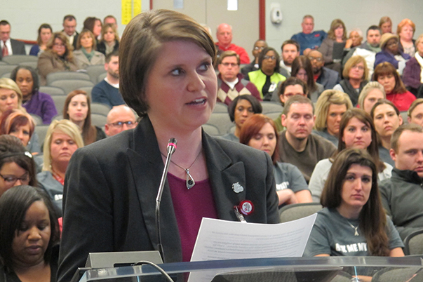 Carrie Hillyard, who leads the turnaround team Evansville Vanderburgh School Corporation leaders created to assist five struggling district schools, speaks to State Board of Education members at a public hearing on the future of Glenwood Leadership Academy.