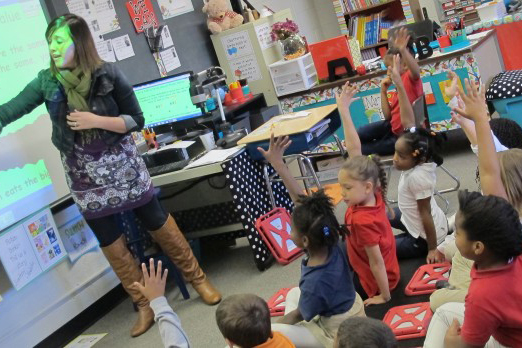 A teacher at Evansville's Glenwood Leadership Academy leads a lesson for her second graders. The school officially earned its sixth straight F on Friday and could face state intervention as a result.
