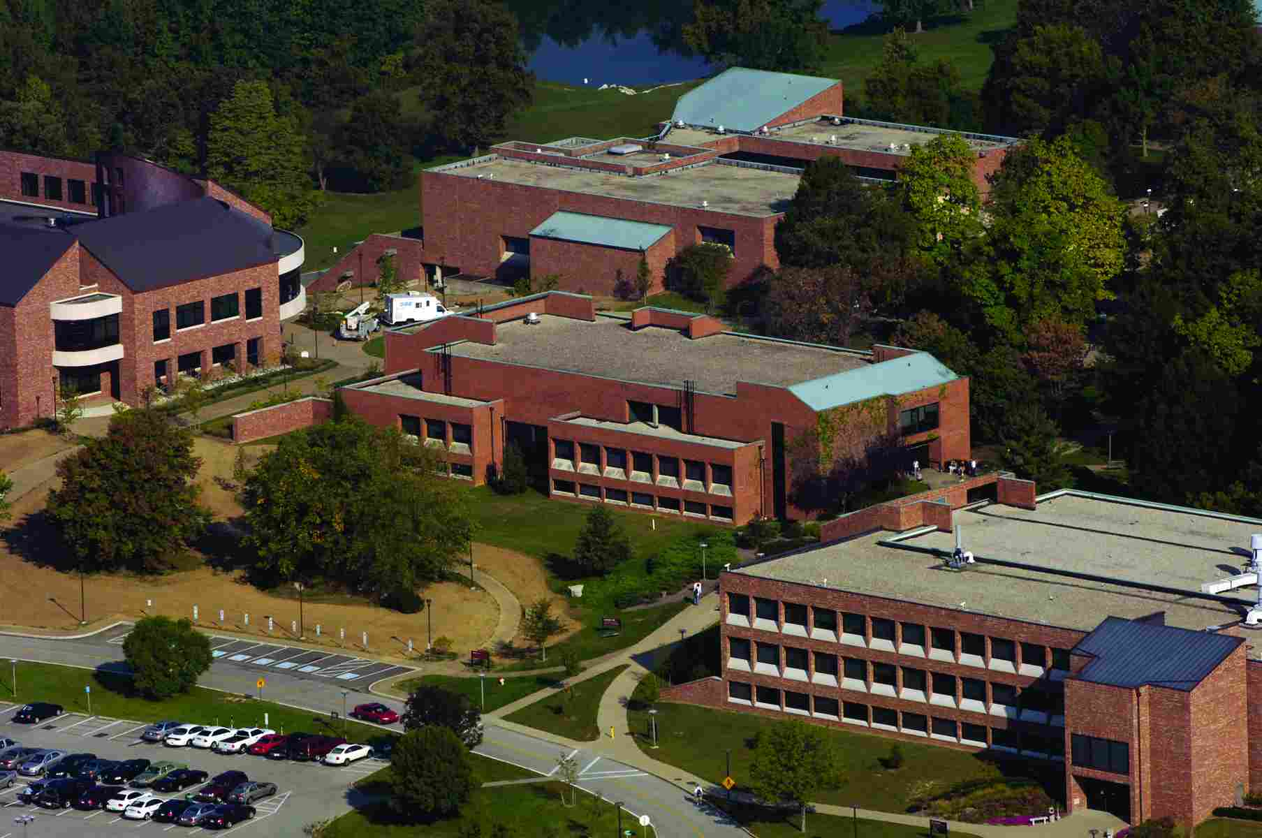 An aerial photo of Indiana University Southeast in New Albany.