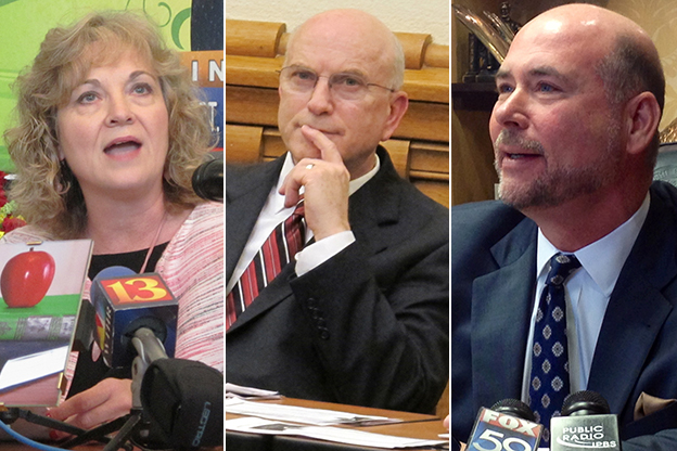 Glenda Ritz (left), Dennis Kruse and Brian Bosma.