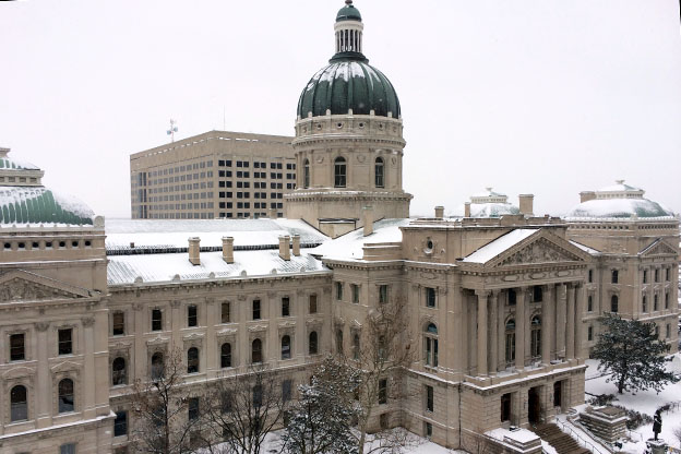 statehouse in snow