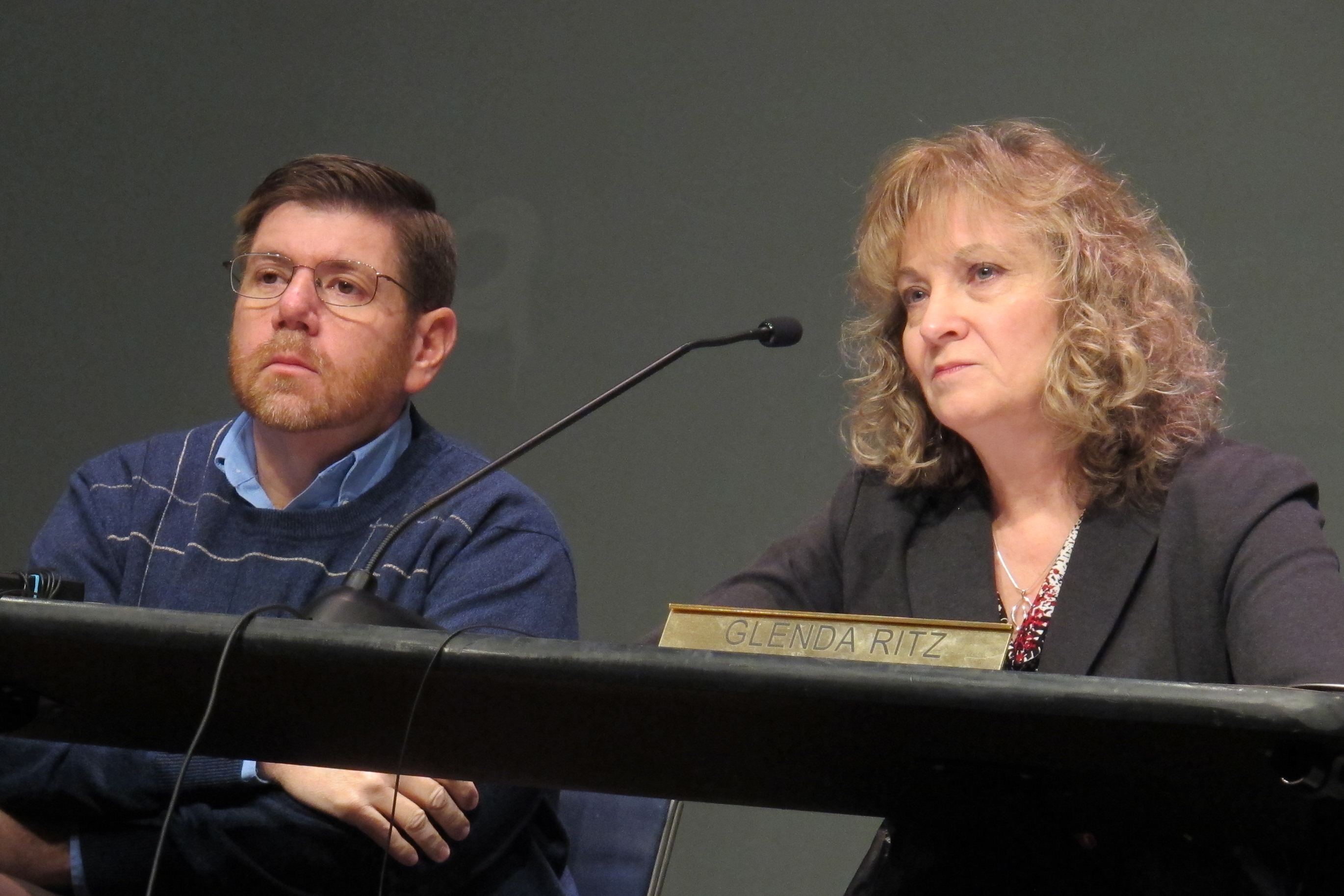 State Board member Brad Oliver and state superintendent Glenda Ritz listen during the January 2014 meeting.