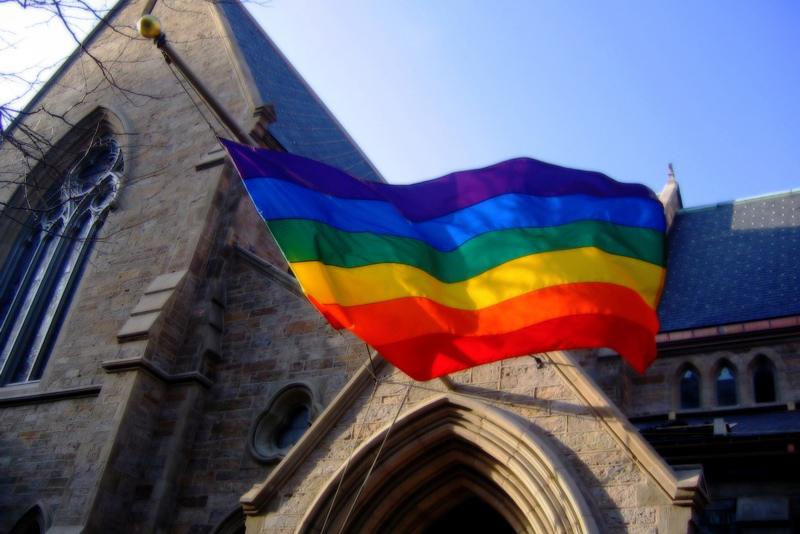 rainbow flag at church