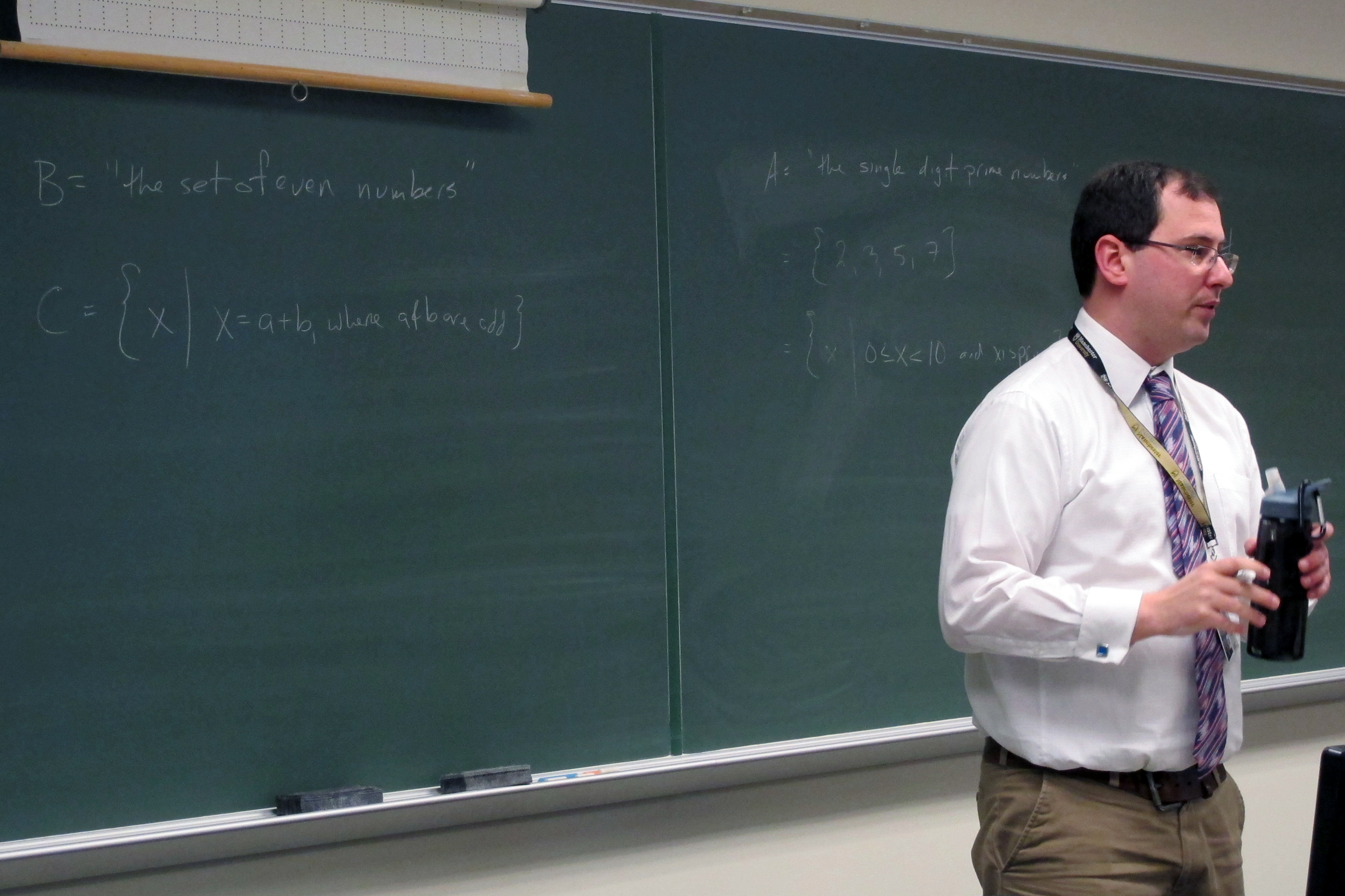 Manchester University professor Tim Brauch lectures his discrete math class. Brauch has been involved in the rewrite of Indiana's K-12 standards.