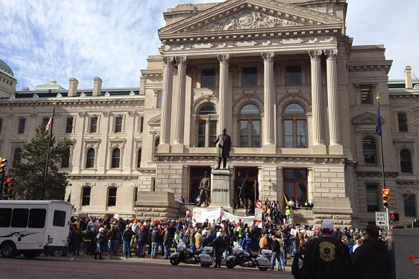 statehouse right to work protests