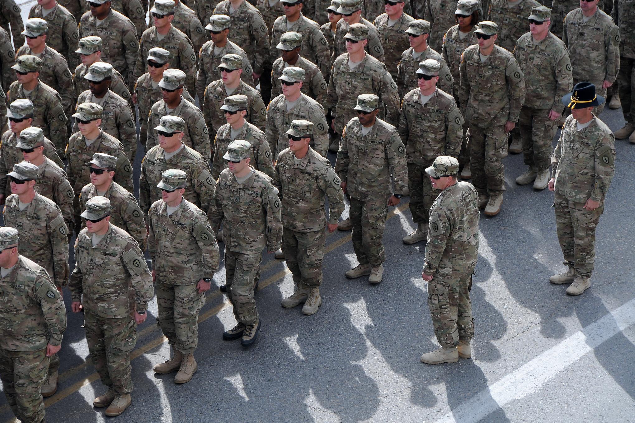 military members in lines