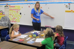 Students at a Jump Start program in Seymour work with their teacher on learning the alphabet.