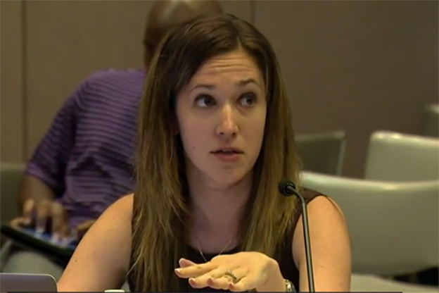 State Board of Education member Sarah O'Brien speaks during a meeting last July. (Photo Credit: Bill Shaw/WTIU)