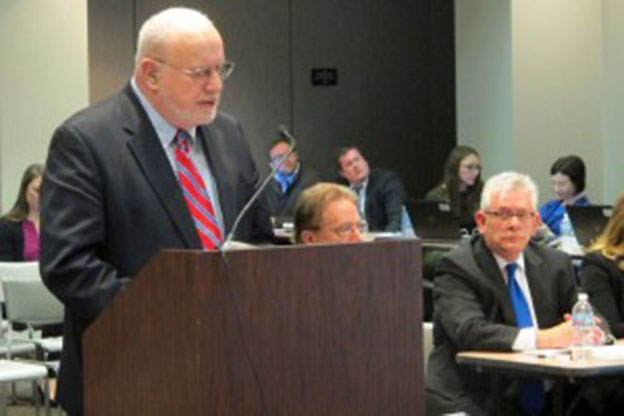 Edward Roeber, a national testing consultant hired through Gov. Pence\'s executive order, presents his plan to shorten this year\'s ISTEP to the State Board of Education last month. (Photo Credit: Claire McInerny/StateImpact Indiana)