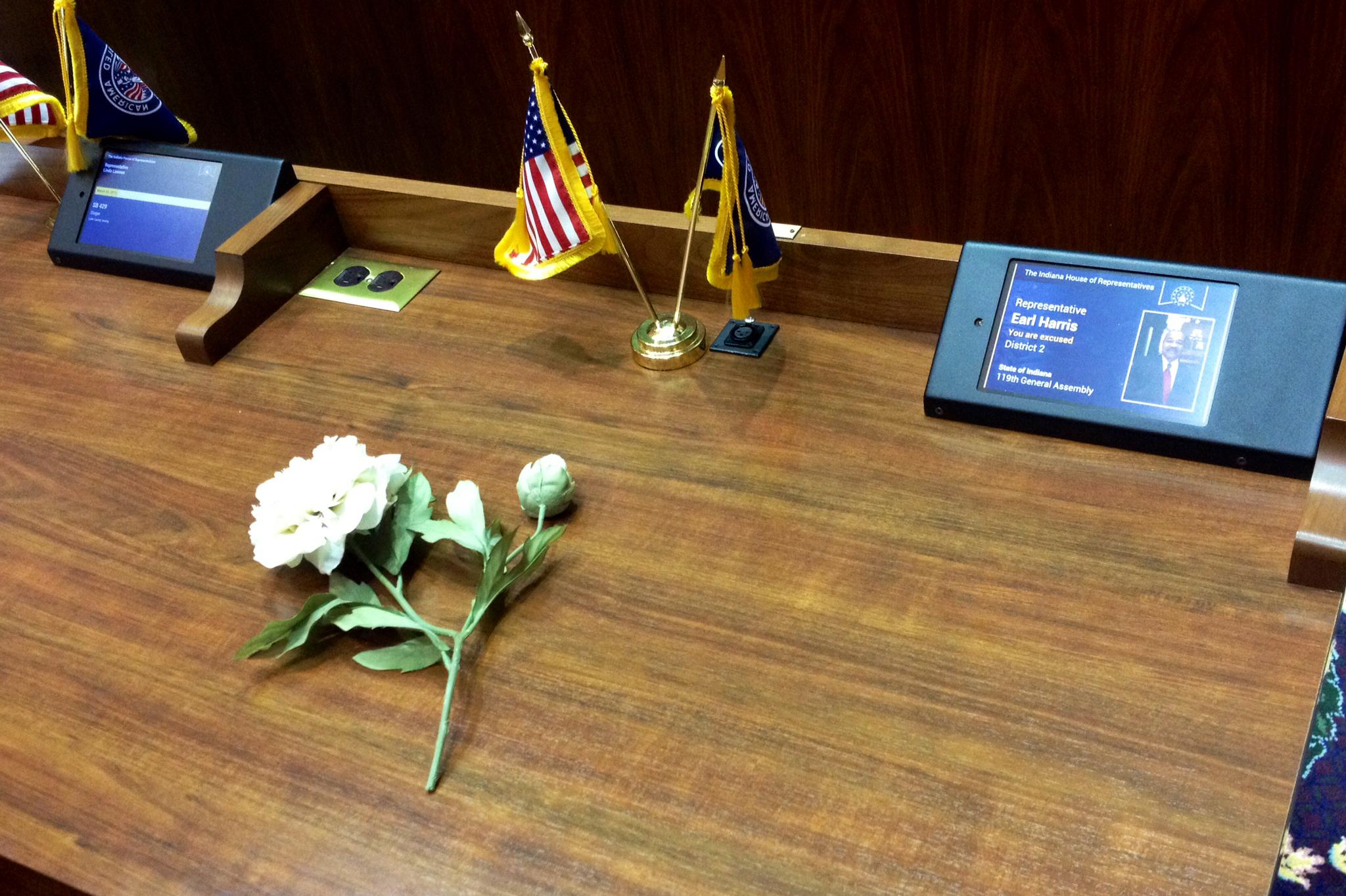 flower on earl harris' desk