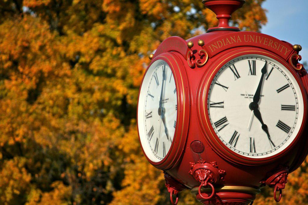clock on IU campus