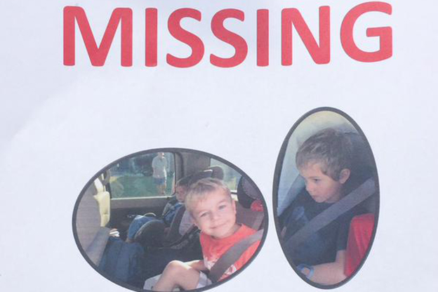 Flyers for Adrian Ross and Michael Esposito are circulating around the area surrounding the campground from which they went missing Thursday night. (Photo Credit: Charles Bertram, Lexington Herald-Leader via Twitter)