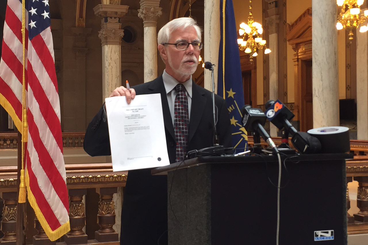 Senate Minority Leader Tim Lanane unveils a proposal to add LGBT protections to the state's civil rights code.