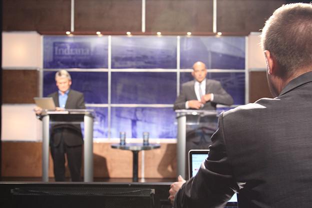 Democrat John Hamilton and Republican John Turnbull debated city issues in front of members of the public in WTIU studios.