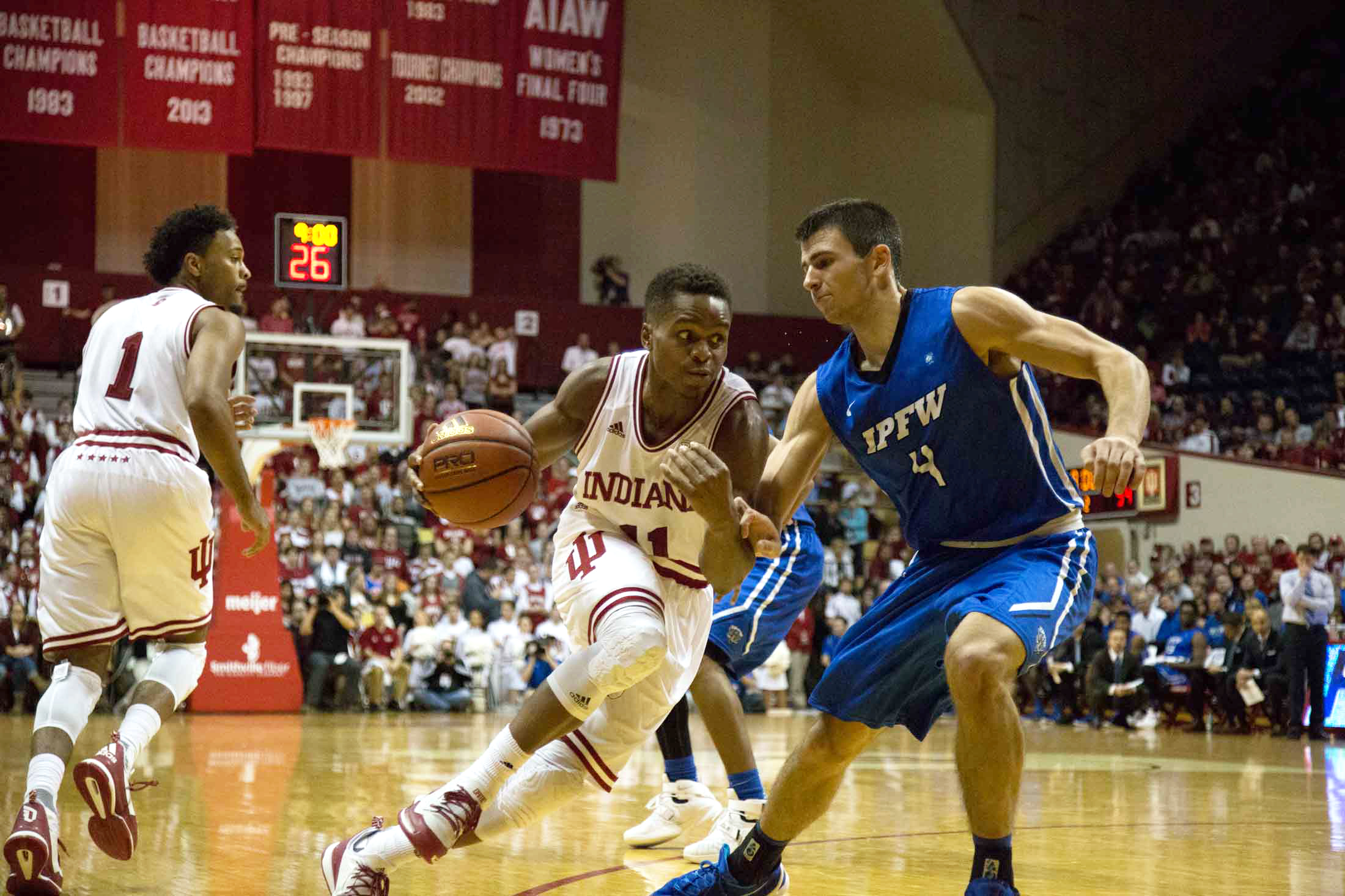 Yogi Ferrell attempts to drive past his defender during a game against IPFW.