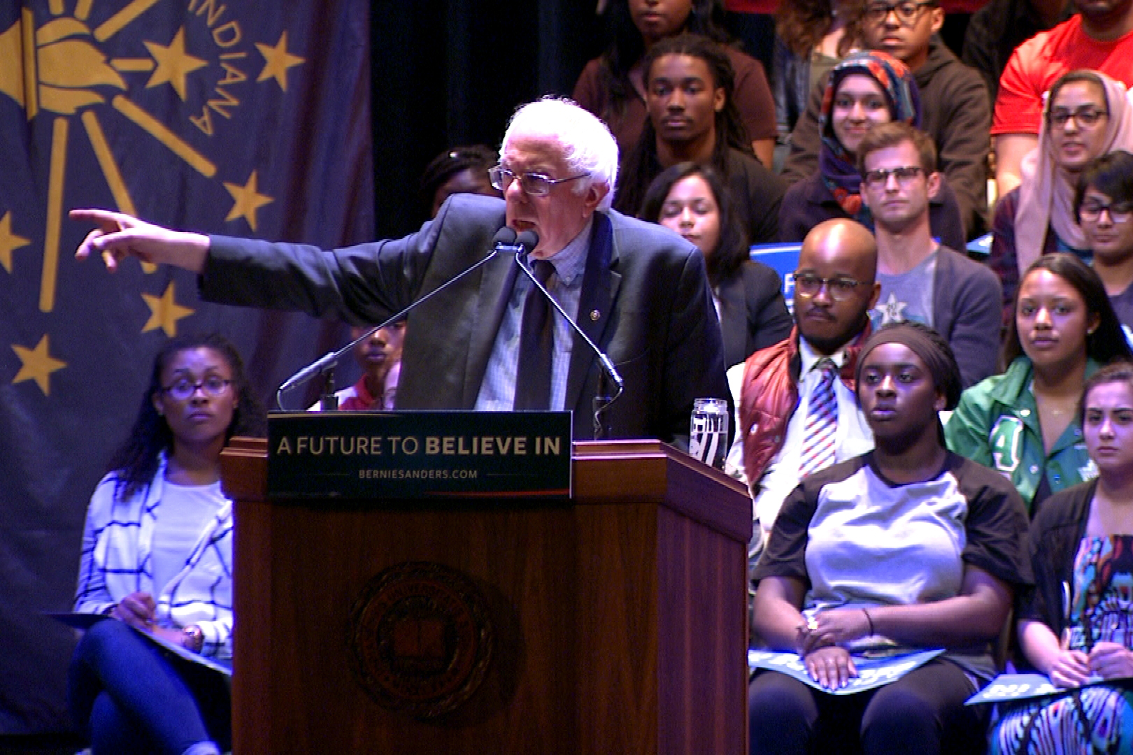 Bernie Sanders at a rally in Bloomington.