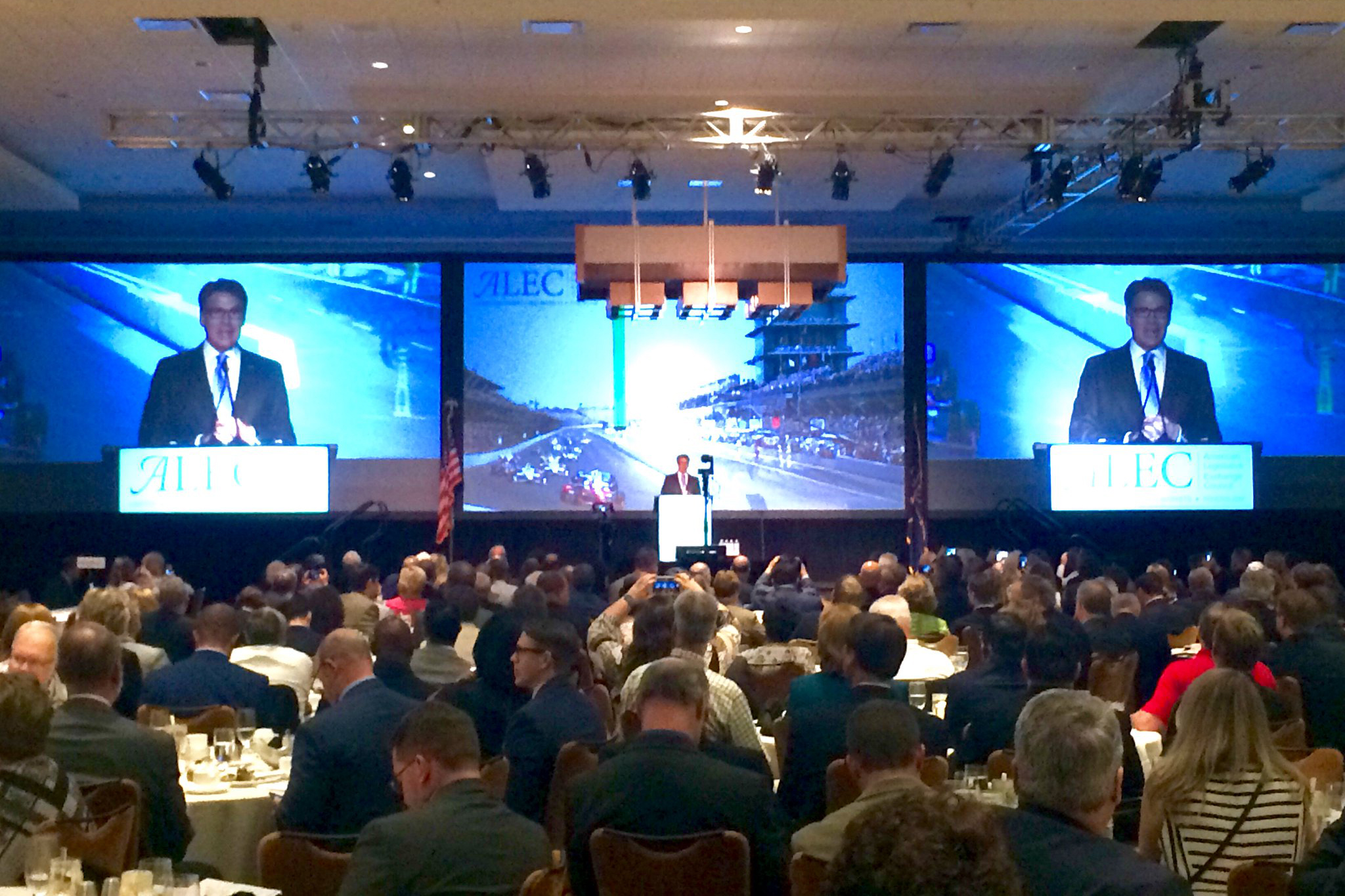 Gov. Rick Perry speaks at the 2016 ALEC meeting in Indianapolis.
