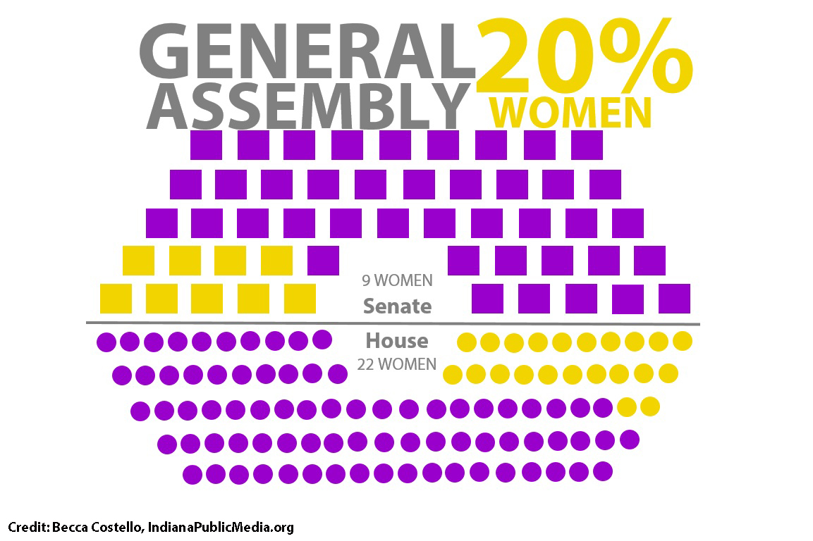 In 2016, women make up only 20 percent of the Indiana General Assembly.