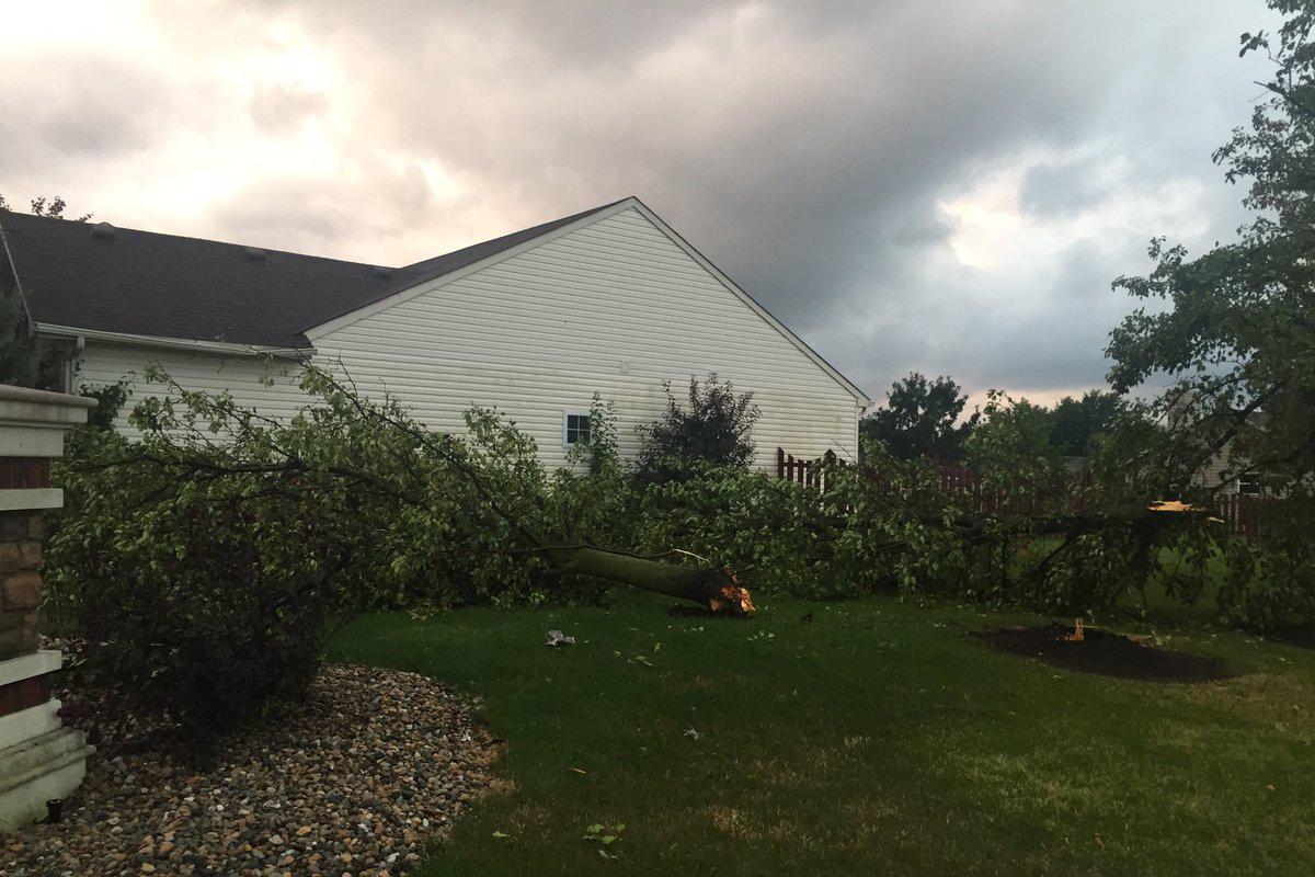 Tornado damage in the Highland Springs neighborhood of Kokomo.