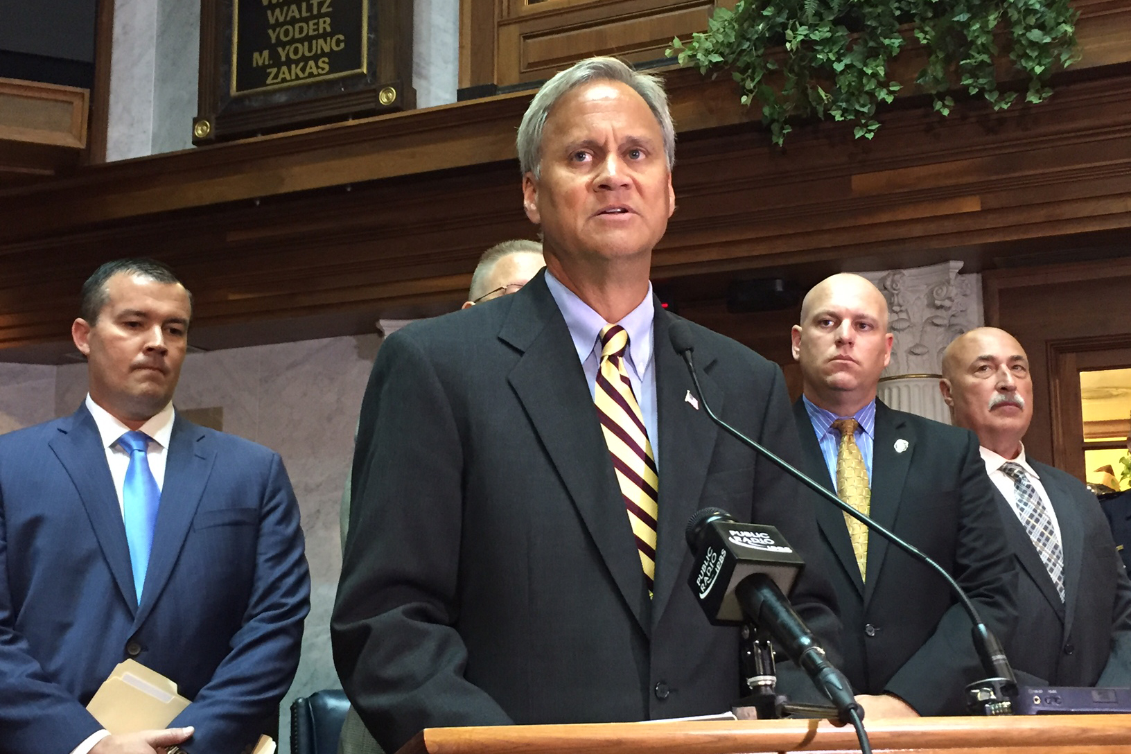 Sen. Jim Merritt, R-Indianapolis, presents a new proposal that would increase penalties for targeting an off-duty police officer.