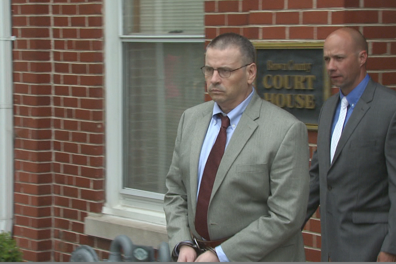 Daniel Messel leaves the Brown County Courthouse after hearing the guilty conviction from the jury.