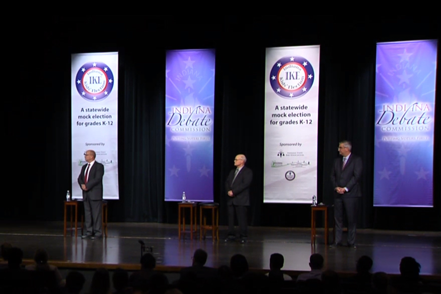 From left: Democratic candidate John Gregg, Libertarian candidate Rex Bell and Republican candidate Eric Holcomb.
