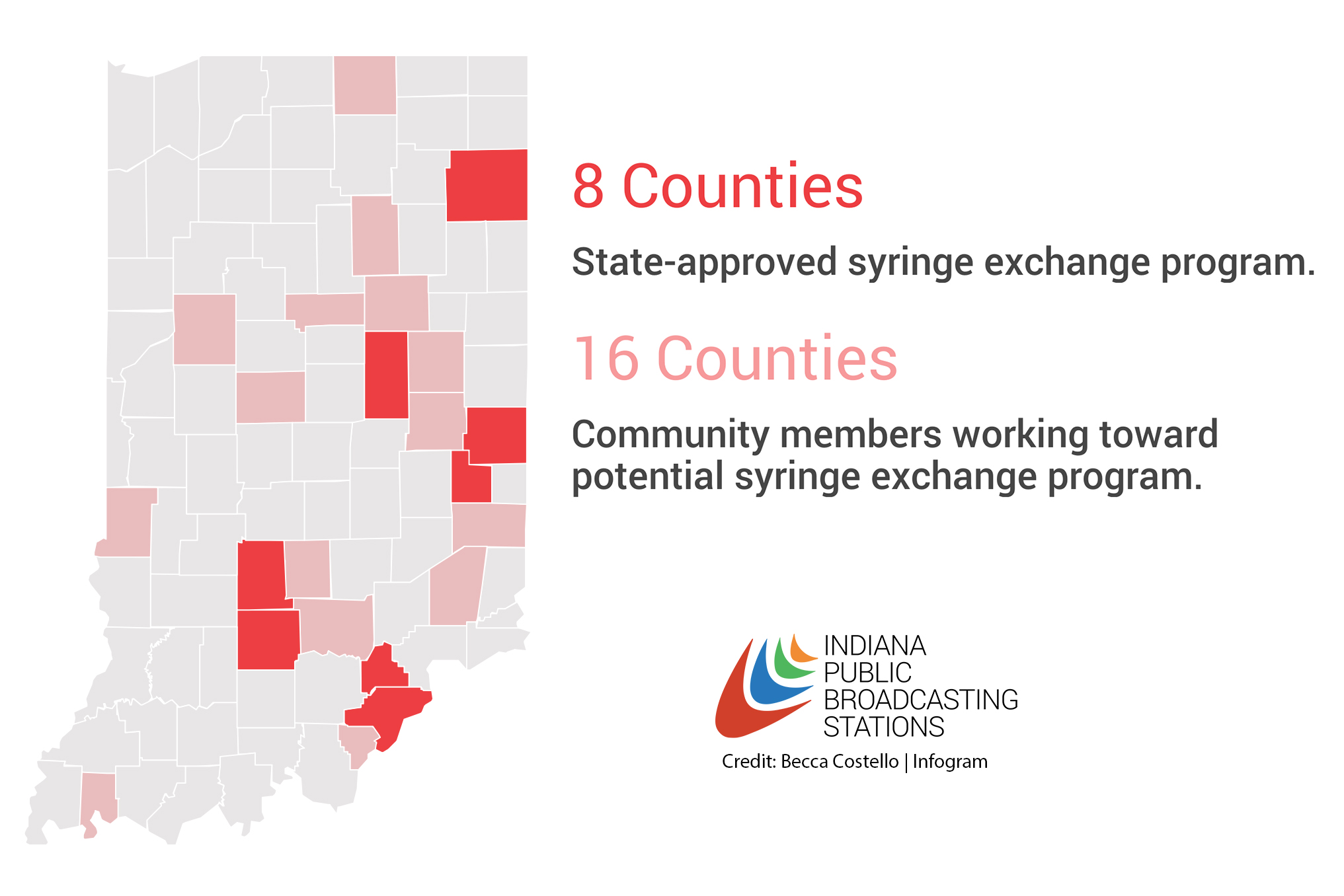 Eight counties have state approval for a needle exchange program.