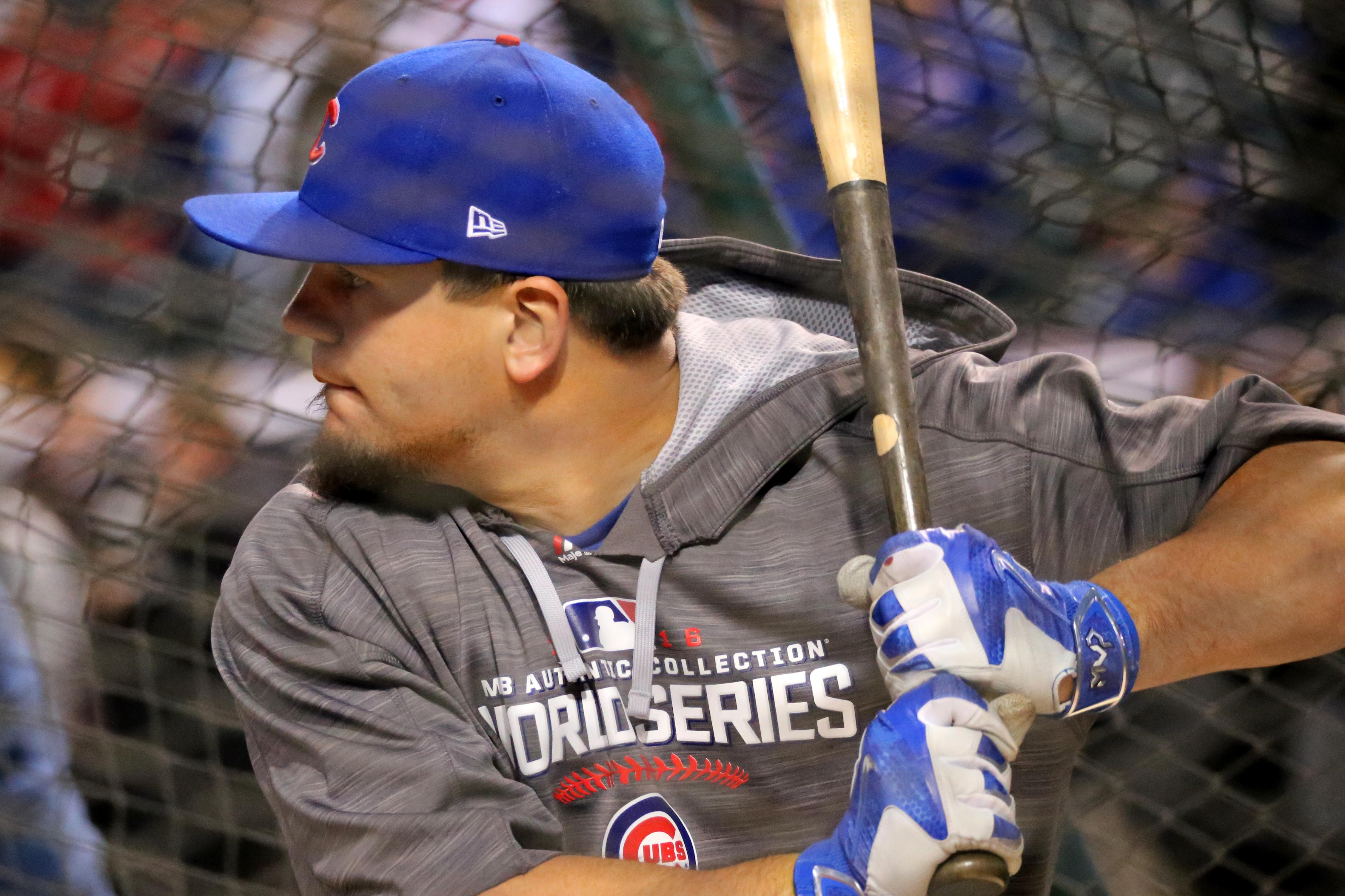 Cubs slugger Kyle Schwarber takes batting practice before WorldSeries Game 1.