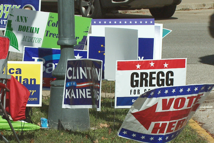 Campaign signs outside an early voting center in Monroe County.