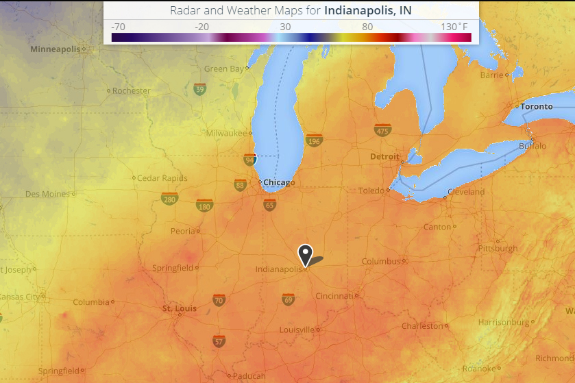 Indianapolis set a new record high minimum temperature on Monday, October 17.