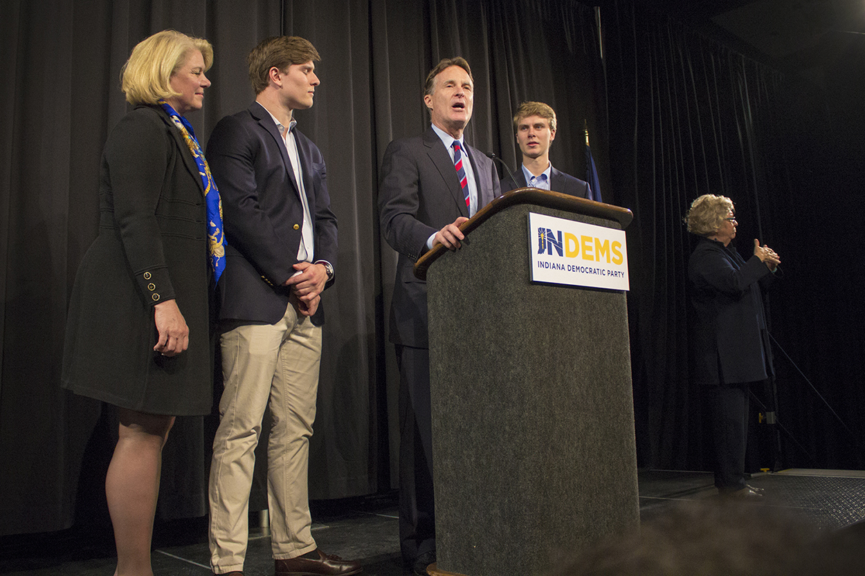 Democratic candidate Evan Bayh concedes to Republican Todd Young for Indiana's U.S. Senate seat. (Peter Balonon-Rosen/IPB News)